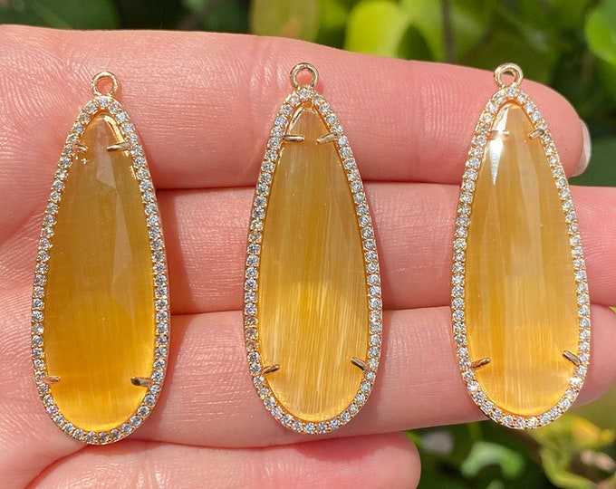 Brass Micro Pave Cubic Zirconia Pendants with Faceted Honey Yellow Crystal | Teardrop Pendant | Sold by Piece | Size 45x17x5mm