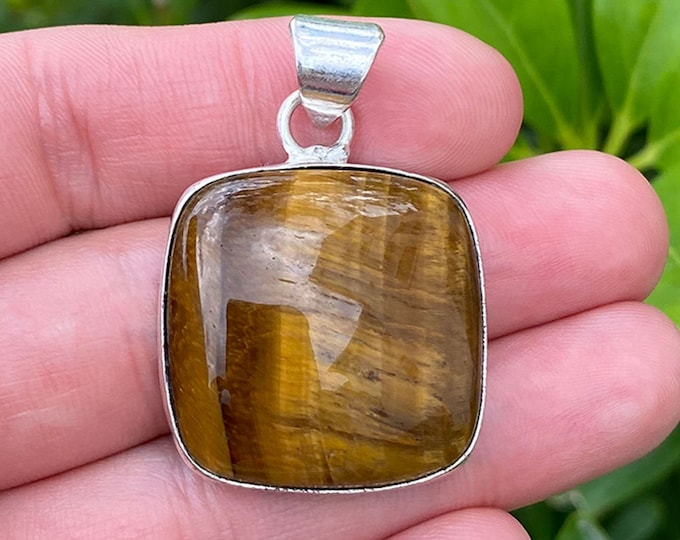 Natural Tiger Eye Gemstone 925 Sterling Silver Pendant Focal Bead Size 1.25 Inch