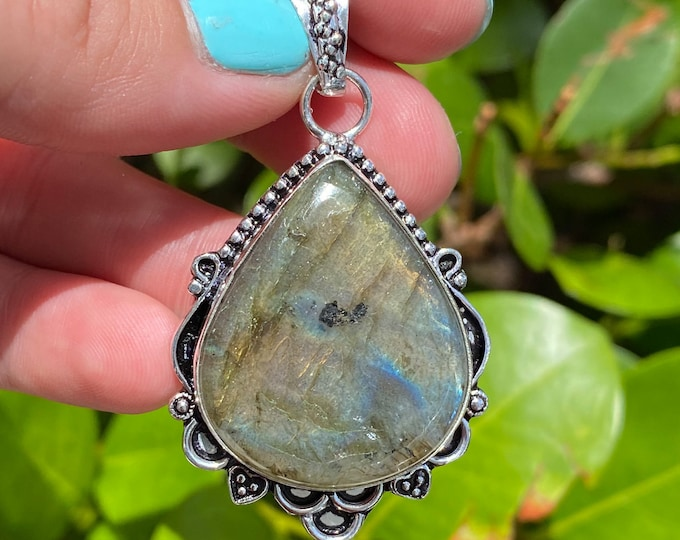 Natural Labradorite Gemstone 925 Solid Sterling Silver Pendant Focal Bead Size 2 Inch
