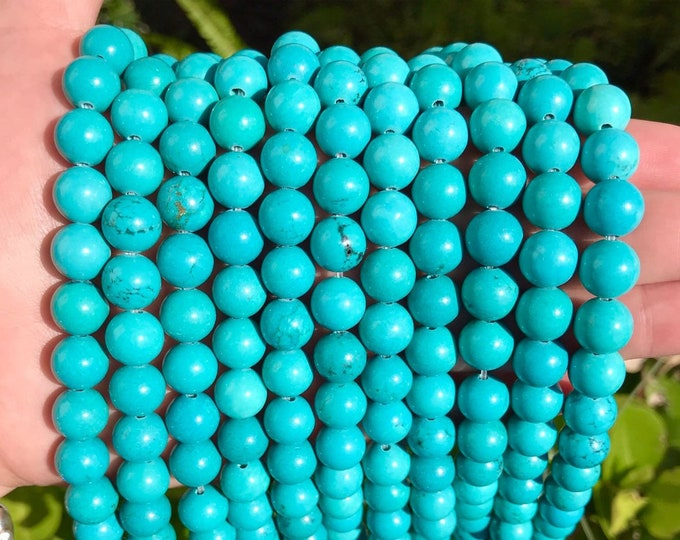 Blue Turquoise Beads | Round Natural Gemstone Loose Beads | Sold by Strand | Size 10mm