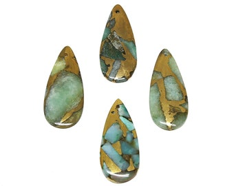 Amazonite Pendant | Natural Gemstone Pendant Focal Bead | Teardrop | Sold by Piece | Size 40x20x2mm | Hole 1mm