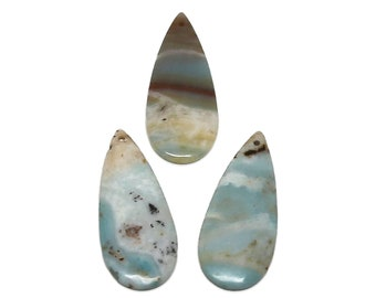 Amazonite Pendant | Natural Gemstone Pendant Focal Bead | Teardrop | Sold by Piece | Size 50x20x2mm | Hole 2mm