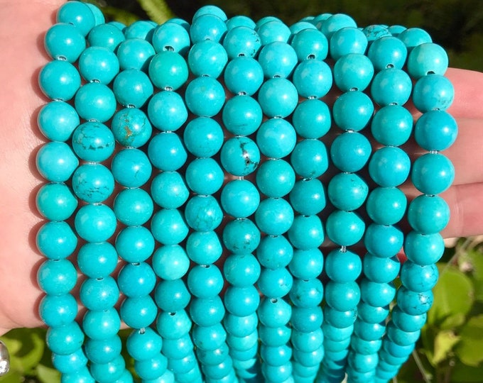 Blue Turquoise Beads | Round Natural Gemstone Loose Beads | Sold by 15 Inch Strand | Size 10mm