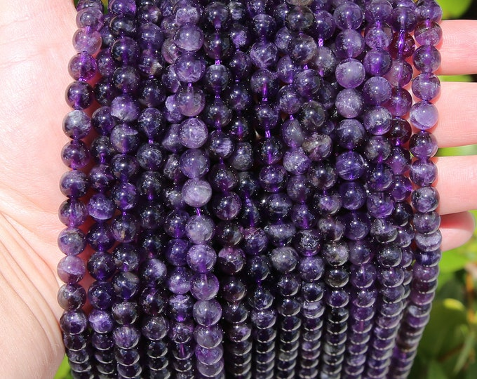 Amethyst Beads | Dark Purple | Grade A | Round Natural Gemstone Loose Beads | Sold by Strand | Size 8mm