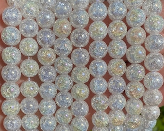 Crackle Quartz Beads | Plated Round Natural Gemstone Beads | Sold by 15 Inch Strand | Size 6mm 8mm 10mm 12mm