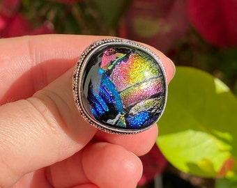 Dichroic Glass 925 Sterling Silver Ring Size 8 1/4 inch
