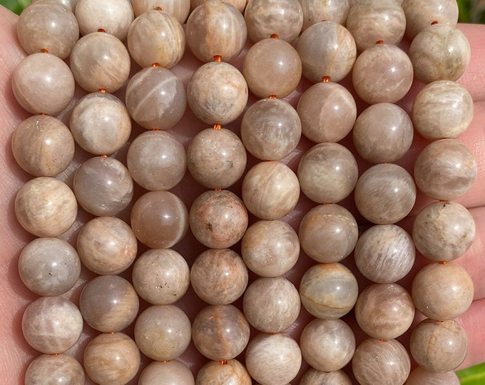 Peach Moonstone Beads | Grade A | Round Natural Gemstone Loose Beads | Sold by 7 Inch Strand | Size 6mm 8mm 10mm 12mm