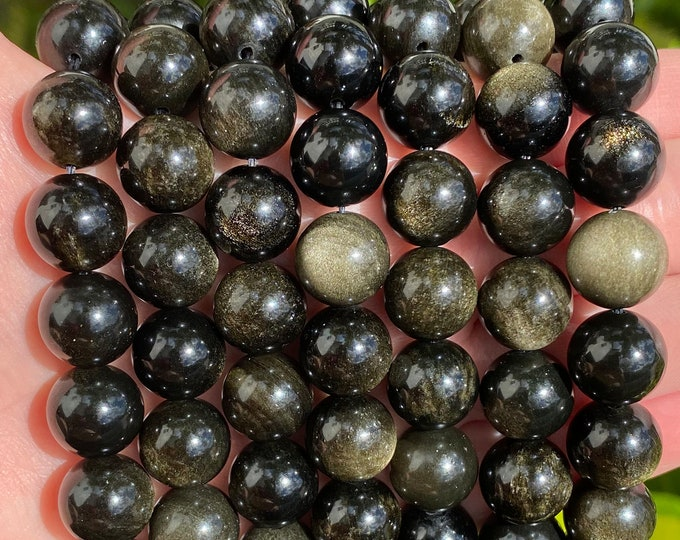 Obsidian Beads | Gold Black | Round Polished Natural Gemstone Loose Beads | Sold by 15 Inch Strand | Size 6mm 8mm 10mm 12mm 14mm