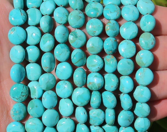 Blue Turquoise Coins Beads | Kingman Turquoise Beads | Natural Gemstone Loose Beads | Sold by Lot 5 Beads | Size 10mm