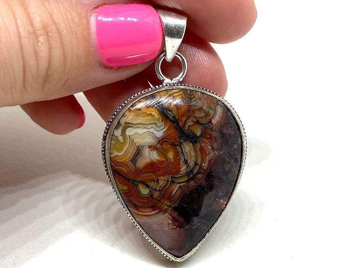 Natural Crazy Lace Agate Gemstone .925 Sterling Silver Pendant Focal Bead Size 1.25 inch