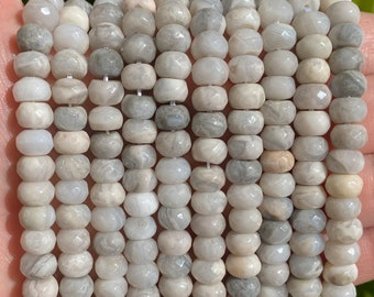 White Agate Faceted Rondelle Beads | Grade A | Natural Gemstone Loose Beads | Sold by 7 Inch Strand | Size 5x8mm | Hole 1mm