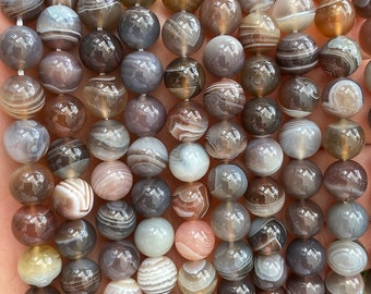 Striped Agate Beads | Brown Pink | Grade A | Polished Round Natural Gemstone Beads | Sold by 7 Inch Strand | Size 8mm