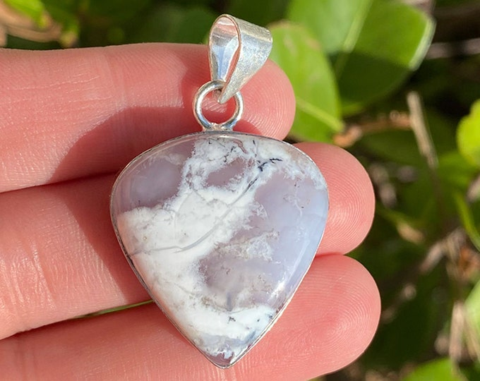 Natural Dendritic Opal Gemstone Pendant   925 Sterling Silver Teardrop Plain Bezel   Size 1 Inch