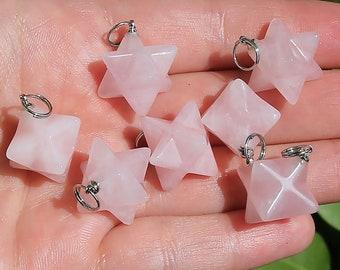 Rose Quartz Beads | Merkaba Pendant | 3D Star | Charka Healing Polygonal Focal | Natural Gemstone Pendant | Sold by Piece | Size 13x20mm