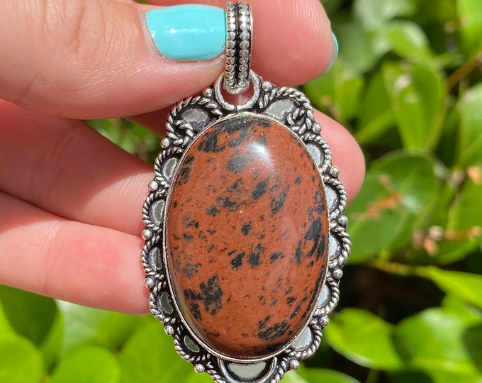 Natural Mahogany Obsidian Gemstone 925 Sterling Silver Pendant Focal BeadSize 2.25 Inch
