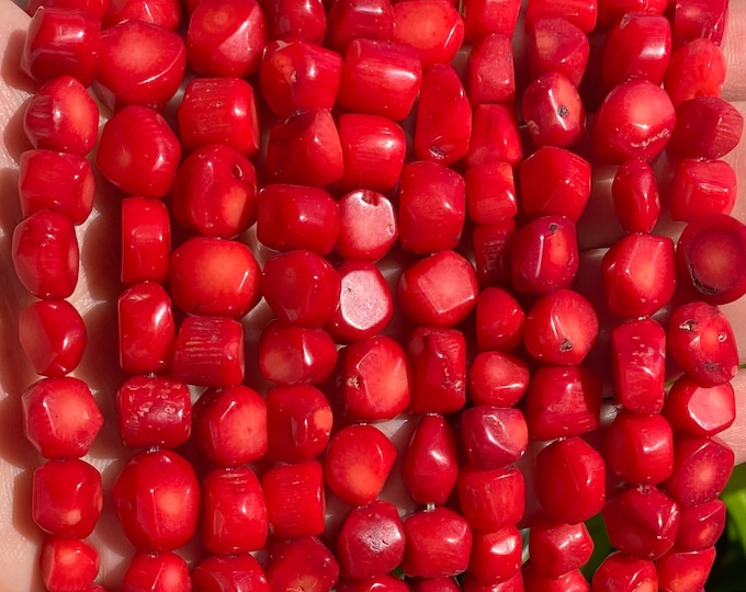 Red Coral Nuggets Beads | Natural Gemstone Beads | Sold by 15 inch Strand | Size 4~6x7~18mm