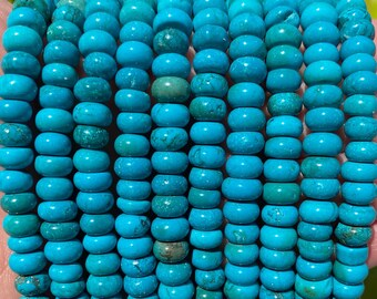 Turquoise Rondelle Beads   Natural Gemstone Loose Beads   Sold by 15 Inch Strand   Size 8x5mm   Hole 1mm
