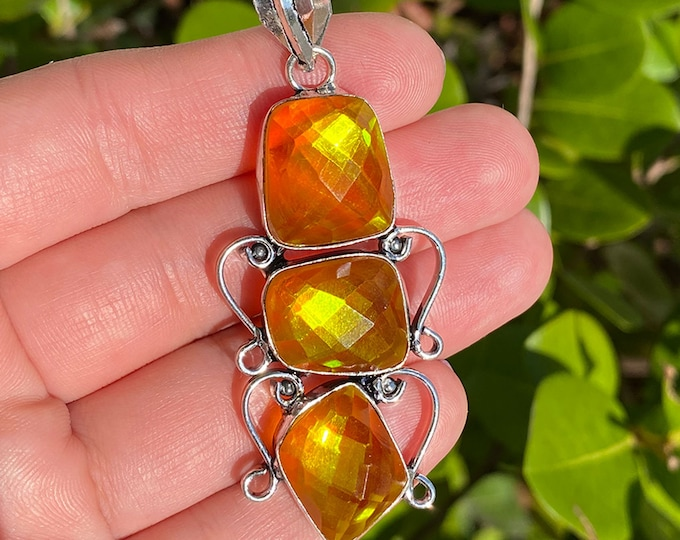 Faceted Citrine Quartz Gemstone Vintage Style 925 Sterling Silver Pendant Focal Bead Size 2.5 inch