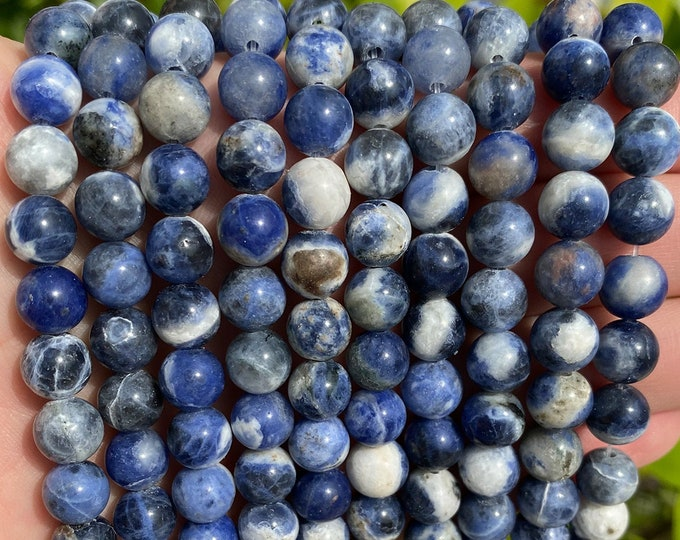 Sodalite Beads | Grade A | Round Natural Gemstone Beads | Sold by 15 Inch Strand | Size 4mm 6mm 8mm 10mm