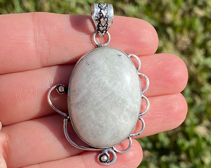 Natural Moonstone Gemstone Filigree Style .925 Solid Sterling Silver Pendant Size 2 Inch