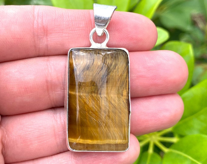 Natural Tiger Eye Gemstone 925 Sterling Silver Pendant Focal Bead Size 2 Inch