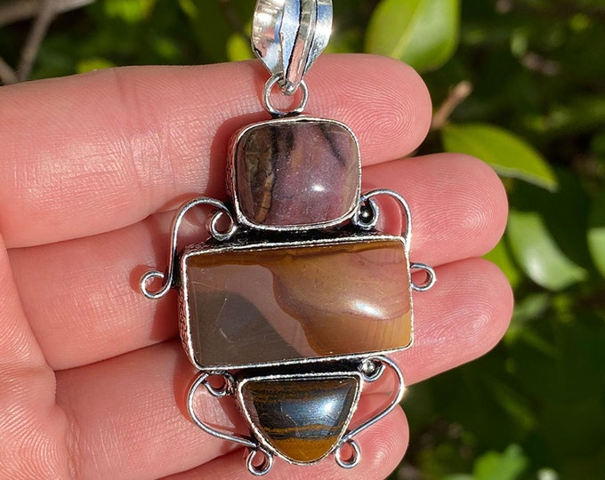Natural Tiger Eye and Mookaite Jasper Gemstone 925 Sterling Silver Pendant Focal Bead Size 2.25 Inch