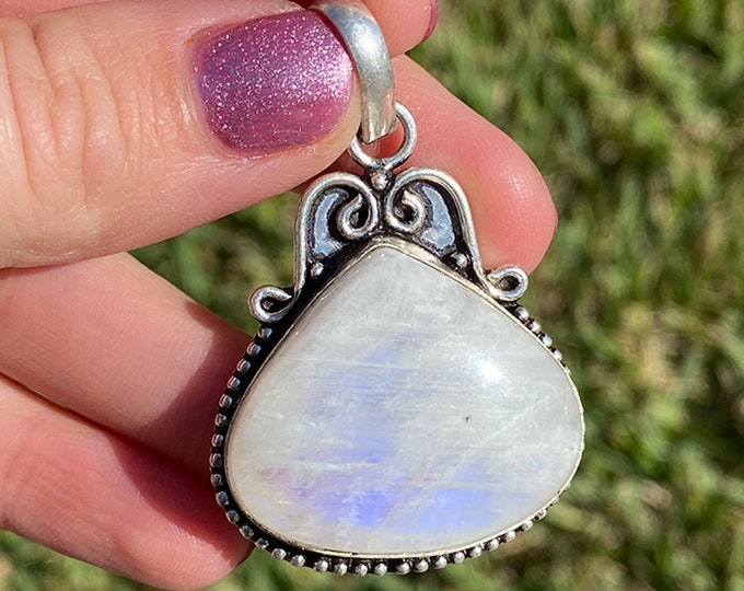 Natural Moonstone Gemstone Vintage Style .925 Solid Sterling Silver Pendant Size 2 1/4 Inch
