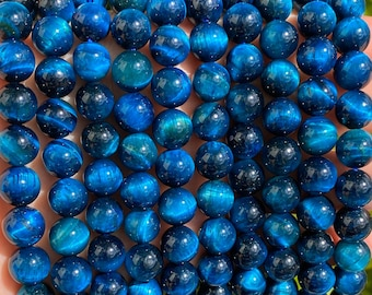 Blue Tiger Eye Beads | Grade AAA | Polished Round Natural Gemstone Loose Beads | Sold by 15 Inch Full Strand | Size 6mm 8mm 10mm