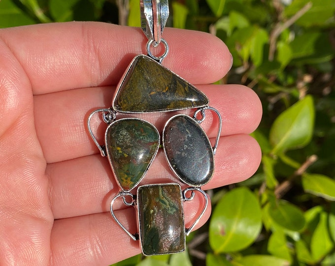 Natural African Bloodstone Gemstone .925 Solid Sterling Silver Vintage Style Pendant Size 2.5 Inch