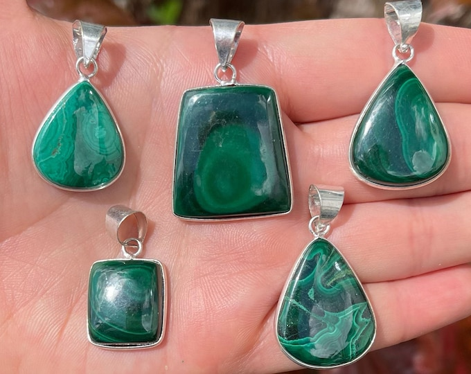 Natural Malachite Pendants   925 Sterling Silver Plated   Size 1-1.5 Inch