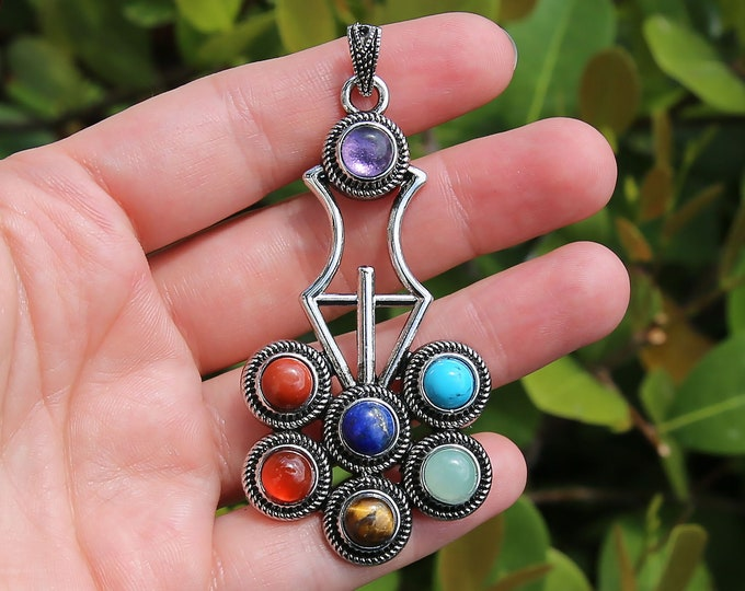 7 Charkas Natural Gemstone Pendant | Mala Pendant | Silver Brass | Sold by Piece | Size 35X63mm