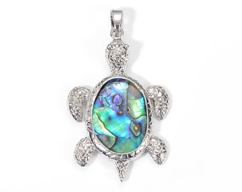 Natural Abalone Shell Tortoise Pendant   Silver Brass   Natural Gemstone Focal Bead Pendant   Sold Individually   Size 31x49mm