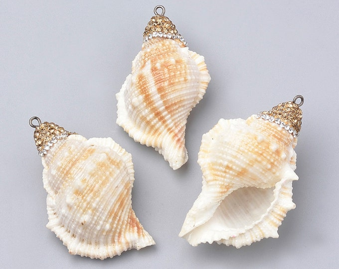Natural Sea Shell Pendant | Rhinestones Clay Conch Shell | Sold Individually | Size 49~70x30~45x21~30mm