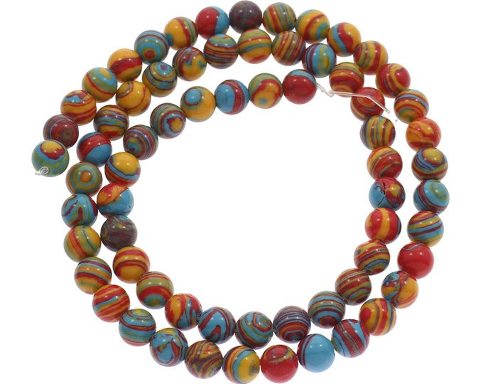 Turquoise Beads | Rainbow Mosaic | Round Synthetic Gemstone Loose Beads | Sold by Strand | Size 8mm