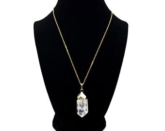 Clear Quartz Healing Crystal Pendant - Pointed Clear Crystal Quartz Necklace - 18K Gold Plated Clear Crystal Pendant