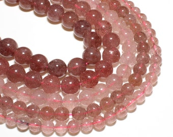 Strawberry Quartz Beads | Round Natural Gemstone Loose Beads | Sold by 15 Inch Strand | Size 6mm 8mm 10mm