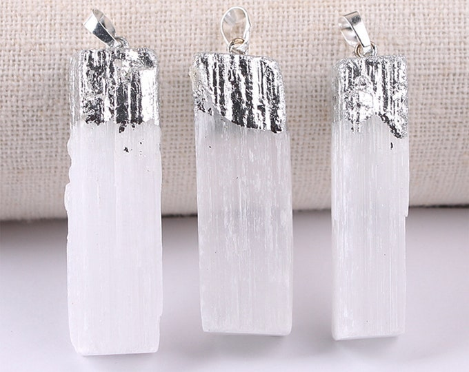 White Gypsum Pendant | Silver Edged | Natural Gemstone Loose Pendant Bead | Sold by Piece | Size 45-60mm