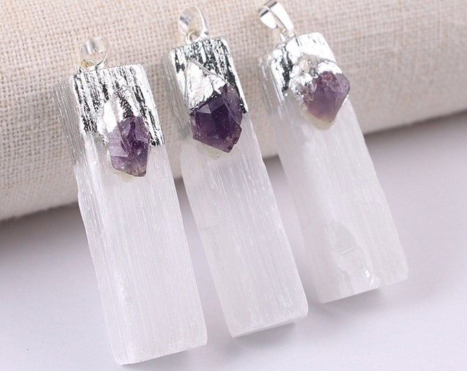 White Gypsum Pendant with Raw Amethyst | Silver Edged | Natural Gemstone Loose Pendant Bead | Sold by Piece | Size 45-60mm