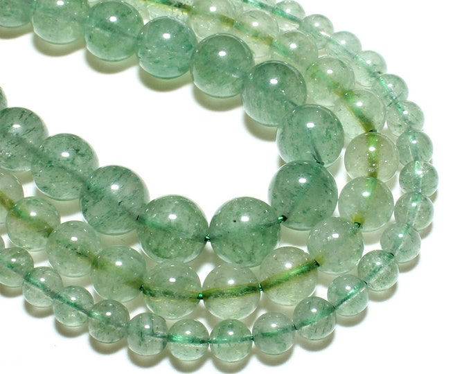 Green Strawberry Quartz Beads | Round Natural Gemstone Loose Beads | Sold by 15 inch Strand | Size 6mm 8mm 10mm