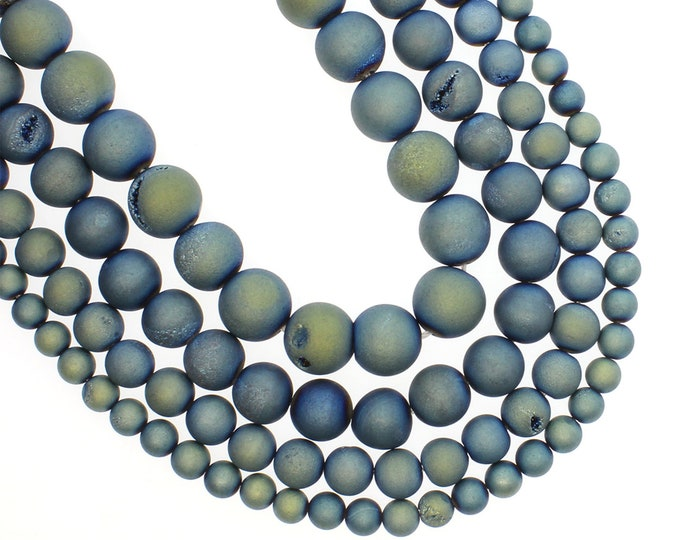 Druzy Agate Beads | Matte Light Blue Metallic | Round Natural Gemstone Loose Beads | Sold by 15 Inch Strand | Size 8mm