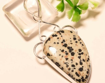 Natural Dalmatian Jasper 925 Solid Sterling Silver Pendant Focal Bead Size 2 1/4 Inch