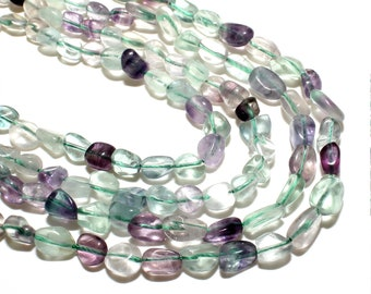 Fluorite Nuggets Beads   Grade AAA   Natural Gemstone Loose Beads   Sold by 15 Inch Strand   Size 6*8mm   Hole 0.8mm