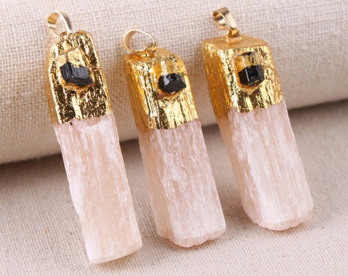 Pink Gypsum Pendant with Raw Black Tourmaline | Gold Edged | Natural Gemstone Loose Pendant Bead | Sold by Piece | Size 45-60mm