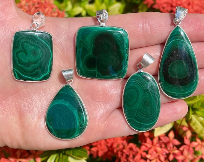 Natural Malachite Pendants   925 Sterling Silver Plated   Size 2-2.5 Inch