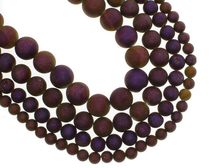 Druzy Agate Beads | Matte Deep Purple Metallic | Round Natural Gemstone Beads | Sold by 15 inch Strand | Size 8mm