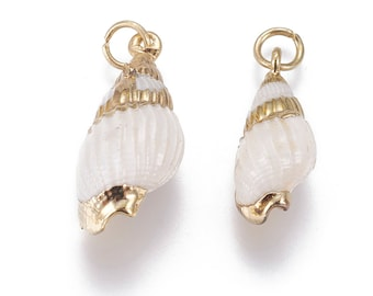 Natural Sea Shell Pendant | 18K Gold Plated Spiral Conch Shell | Sold Individually | Size 20~24x10~12mm
