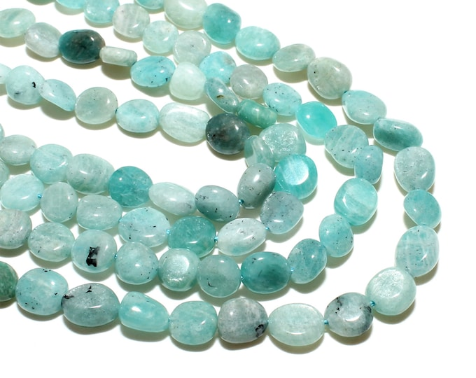 Amazonite Nuggets Beads | Grade AB | Natural Gemstone Loose Beads | Sold by 15 inch Strand | Size 8-10mm | Hole 0.8mm
