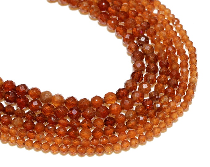 Garnet Beads | Faceted Round Natural Gemstone Beads | Sold by 15 Inch Strand | Size 4mm