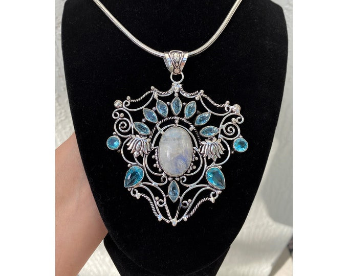 Unique Large Natural Moonstone Pendant 925 Sterling Silver Blue Topaz Gemstone Necklace Size 3 3/4 inch Length 20 inch