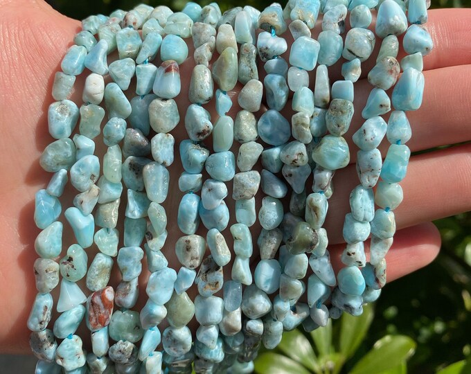 Blue Larimar Nuggets Beads | Grade AB | Natural Gemstone Beads | Sold by 15 Inch Strand | Size 5~11x5~7mm
